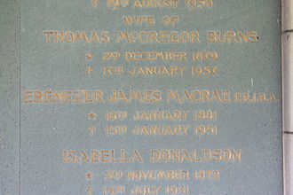 Ebenezer James MacRae - Memorial plaque to Ebenezer James MacRae, Warriston Crematorium