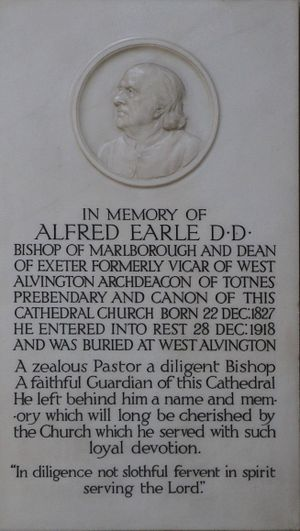Alfred Earle (bishop) - Memorial in Exeter Cathedral