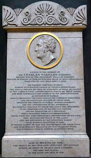 Sir Charles Oakeley, 1st Baronet - Memorial to Charles Oakeley in Lichfield Cathedral
