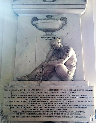 Thomas Parry (Chennai merchant) - Image: Memorial to Thomas Parry, St. George's Cathedral, Madras