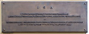 Standards organization - Memorial plaque of founding ISA in Prague.