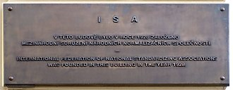 International Organization for Standardization - Plaque marking the building in Prague where the ISO's predecessor, the ISA, was founded.