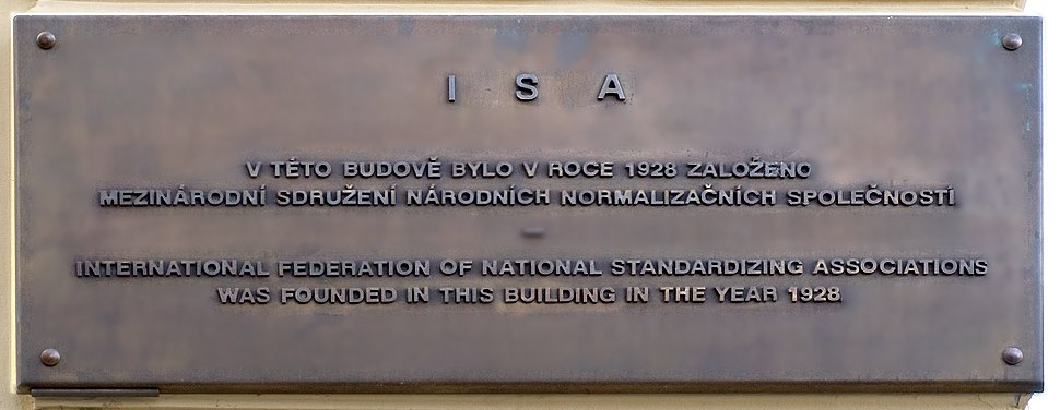 Memory plaque of founding ISA in Prague cropped