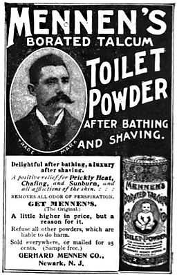 Mennen's Borated Talcum Toilet Powder, 1898