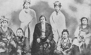 "Meskwaki - 1857 photograph of the ""Mesquakie Indians responsible for the establishment of the Meskwaki Settlement"" in Tama County, Iowa."