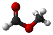 Ball-and-stick model of the methyl formate molecule