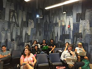 Miami Ad School - Classroom with wall of bluejeans.
