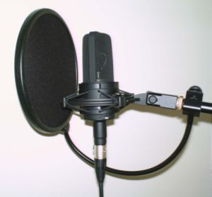 Audio-Technica microphone with pop-filter