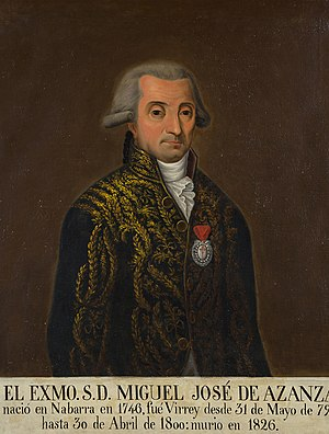 Miguel José de Azanza, Duke of Santa Fe - Miguel José de Azanza, duque de Santa Fe, Viceroy of New Spain