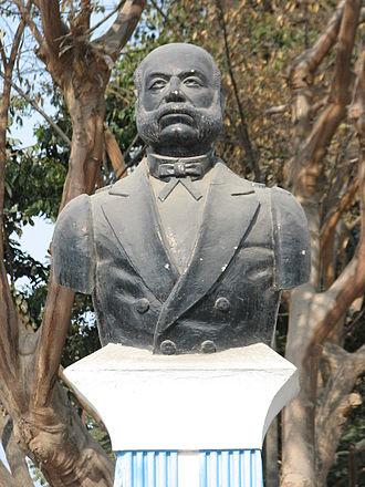Casma - Miguel Grau statue in the main square in Casma, Peru.