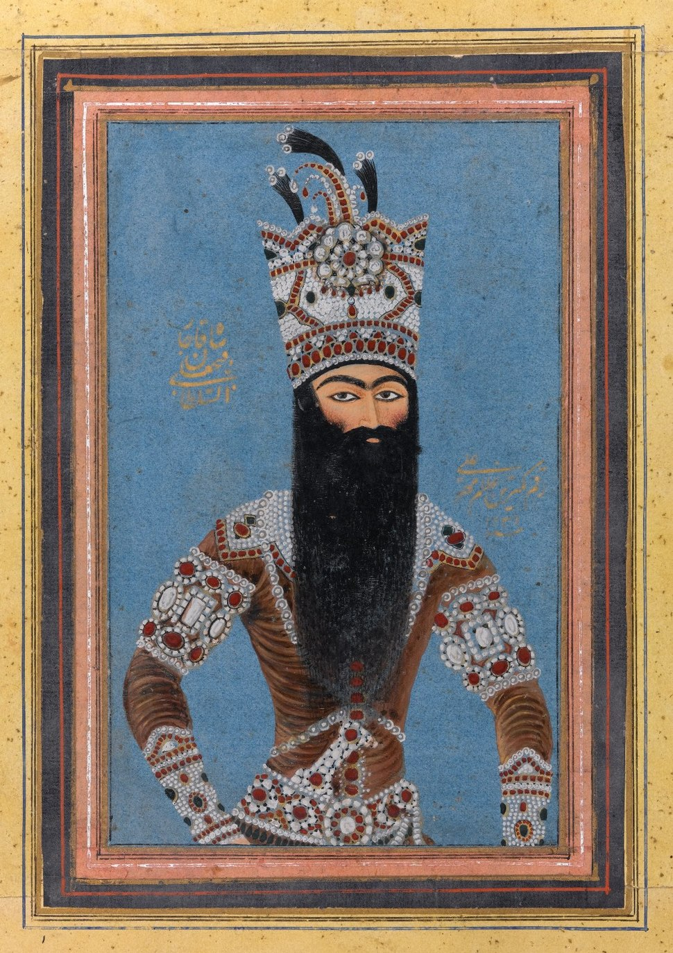 Mihr %27Ali (Iranian, active ca. 1800-1830). Portrait of Fath %27Ali Shah Qajar, 1815