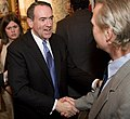 Mike Huckabee, greeting a guest at the Commonwealth Club in San Francisco (cropped2).jpg