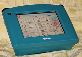 Augmentative and alternative communication - This speech generating device, showing available categories in a grid layout, is a high-tech AAC aid.