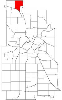 Location of Lind-Bohanon within the U.S. city of Minneapolis