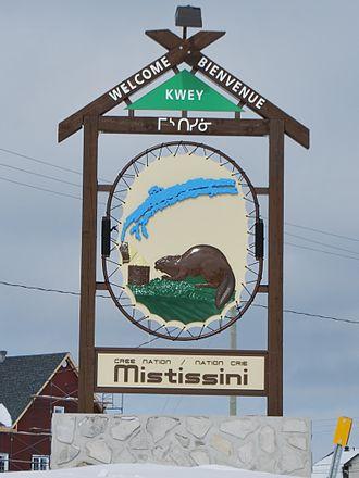 Mistissini, Quebec - Mistissini's town sign