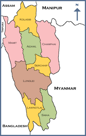 A map of Mizoram state displaying its 8 districts
