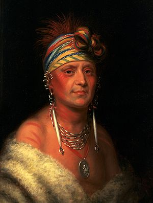 Kaw people - Chief Monchousia (White Plume) by Charles Bird King, circa 1822. On display in the White House.