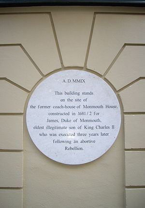 Monmouth House - Plaque noting where Monmouth House stood in Soho Square, London