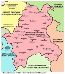 Karta Moravske banovine, 1931.