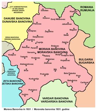 Morava Banovina - Map of Morava Banovina