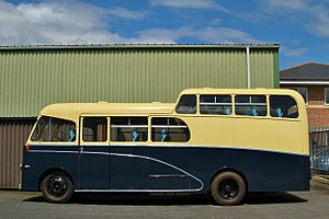 Oxford Bus Museum - Morris Commercial FF coach with Wadham Stringer body, built in 1961 for the Morris Motors works band