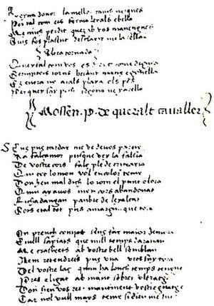 """Pere de Queralt - A maldit-comiat ascribed to Mossen Pere de Queralt cavaller: """"Sir Pere de Queralt, knight"""""""