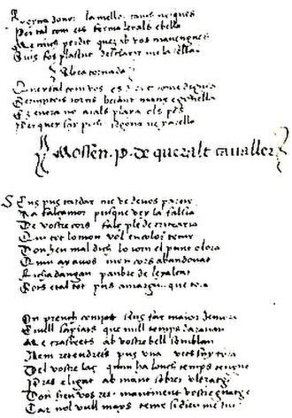 Maldit-comiat - Maldit-comiat of Pere de Queralt