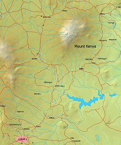 Mount Kenya lies in the Kenyan highlands, 150 km (95 miles) north-northeast of Nairobi and just northeast of Nyeri.[3]
