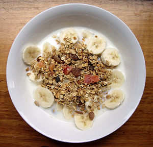 Muesli (traditionally raw rolled oats, dried f...
