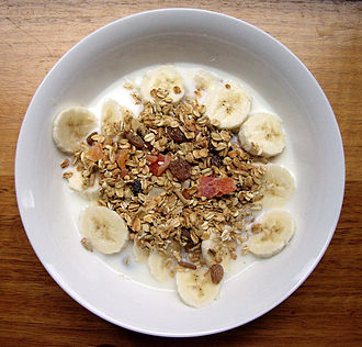 Muesli - Dry muesli mix, served with milk and bananas