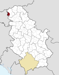 Location of the municipality of Apatin within Serbia