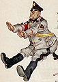 Mussolini detail in 1941 art, Caricature, kicking in ass mussolini (cropped).jpg
