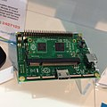 My first sighting of the raspberry pi compute module IRL at element14 stand at electronex expo @atpsydney (15195455615).jpg