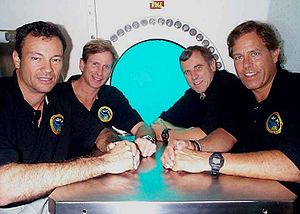 NEEMO - The first NEEMO crew, L-R: in front, Mike López-Alegría and Bill Todd, in back, Mike Gernhardt and Dave Williams