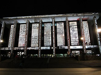 Enlighten Canberra - A projection on the National Library of Australia during the 2012 Enlighten festival
