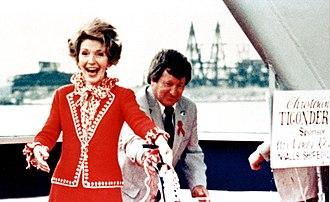 USS Ticonderoga (CG-47) - U.S. First Lady Nancy Reagan christens USS Ticonderoga on 16 May 1981; she was a main sponsor of the ship's building.