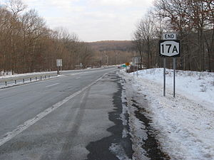 New York State Route 17A - NY 17A ends here at NY 17 in Southfields