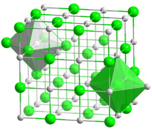 Alkali metal halide - Ball-and-stick model of the coordination of Na and Cl in NaCl.  Most alkali metal halides adopt this structure.