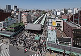 Nakamise, Asakusa, Tokyo as seen from the Asakusa Culture Tourist Information Center 20190420 3.jpg