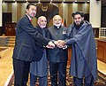 Narendra Modi with the President of Afghanistan, Dr. Mohammad Ashraf Ghani and speakers of two houses of Parliament at the inauguration ceremony of the Afghanistan Parliament, in Kabul on December 25, 2015.jpg