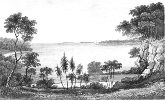 Raffles Bay - Frontispiece from Vol.1 of Phillip Parker King's 1827 Narrative of a survey of the intertropical and western coasts of Australia of a view of Raffles Bay, with Croker Island in the distance