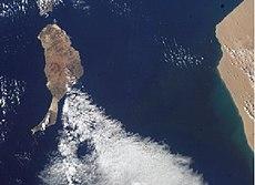 Fotografía de satélite de Fuerteventura donde se aprecia la proximidad de la costa africana