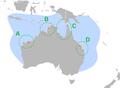 Natator depressus distribution and nesting beaches.png