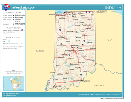Map of Indiana including major roads, municipalities, and water bodies. National-atlas-indiana.PNG