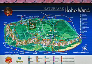 Hohe Wand (mountain) - Overview map of the Hohe Wand Nature Park