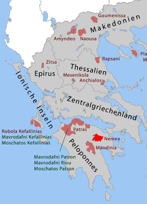 Greek wine regions with OPE (Green) and OPAP A...