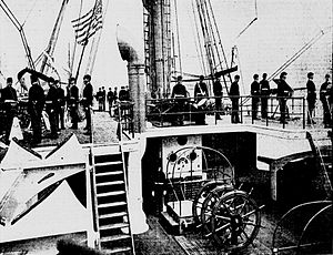 USS Newark (C-1) - Marines manning the secondary battery, circa 1898.