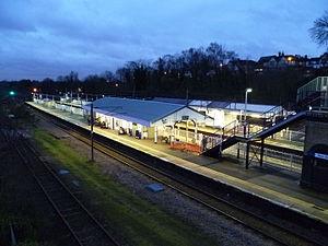 New Barnet railway station - New Barnet railway station at night.