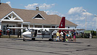 New England Airlines Islander at Block Island State Airport 7-23-2015.jpg