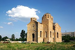 New Saint Volodymyr's Church in Hola Prystan under construction.JPG